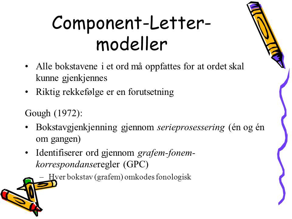 Component-Letter- modeller Alle bokstavene i et ord må oppfattes for at ordet skal kunne gjenkjennes Riktig rekkefølge er en forutsetning Gough (1972)