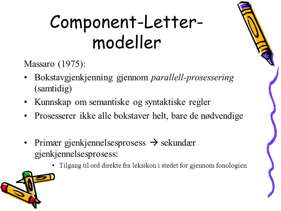 Component-Letter- modeller Massaro (1975): Bokstavgjenkjenning gjennom parallell-prosessering (samtidig) Kunnskap om semantiske og syntaktiske regler