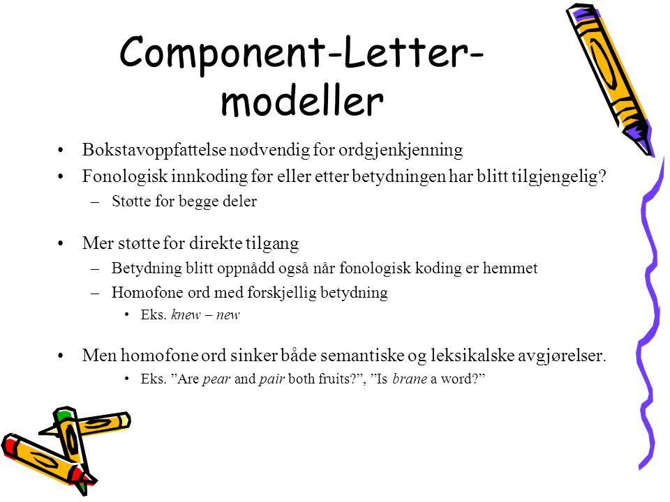 Component-Letter- modeller Bokstavoppfattelse nødvendig for ordgjenkjenning Fonologisk innkoding før eller etter betydningen har blitt tilgjengelig? –