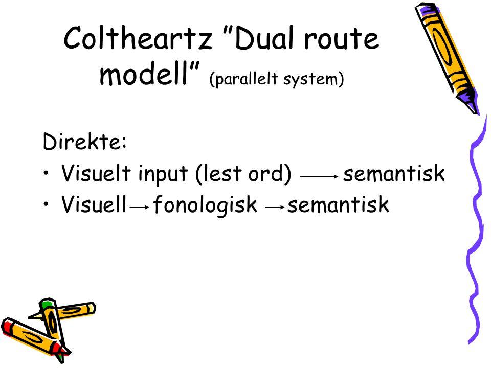"""Coltheartz """"Dual route modell"""" (parallelt system) Direkte: Visuelt input (lest ord) semantisk Visuellfonologisksemantisk"""