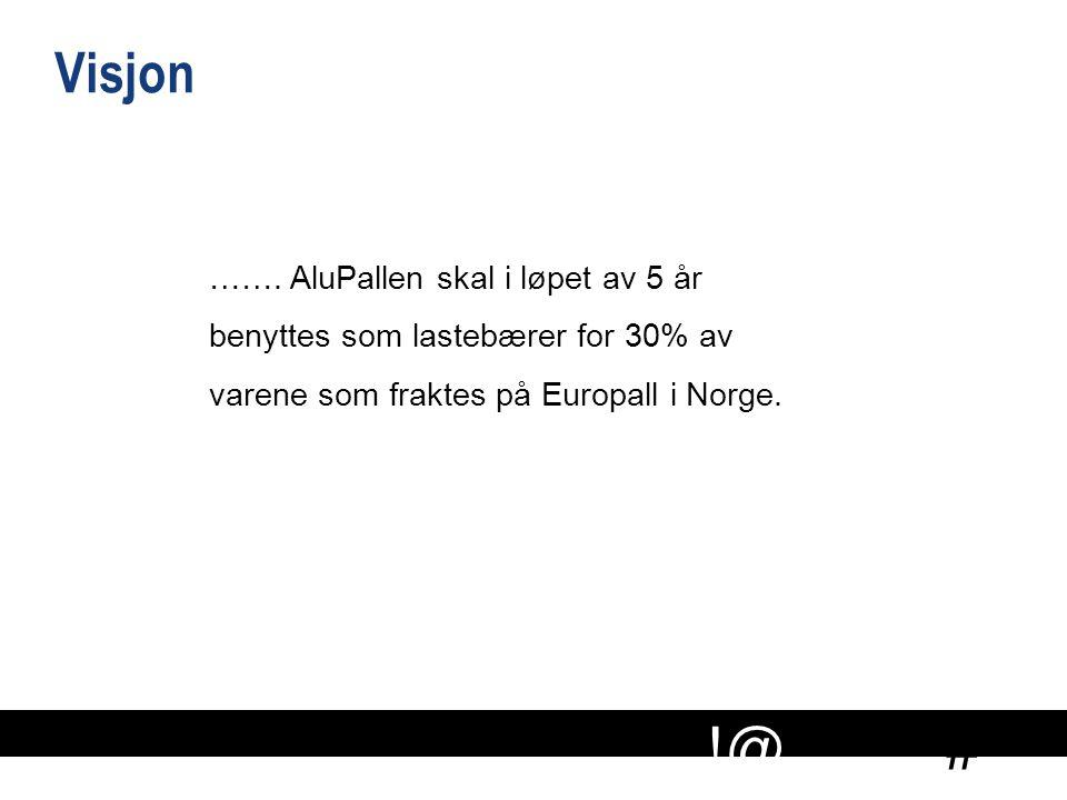 # !@ ……. AluPallen skal i løpet av 5 år benyttes som lastebærer for 30% av varene som fraktes på Europall i Norge. Visjon