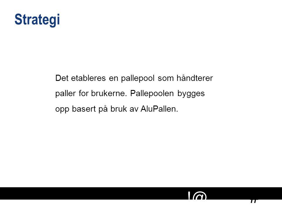# !@ Strategi Det etableres en pallepool som håndterer paller for brukerne. Pallepoolen bygges opp basert på bruk av AluPallen.