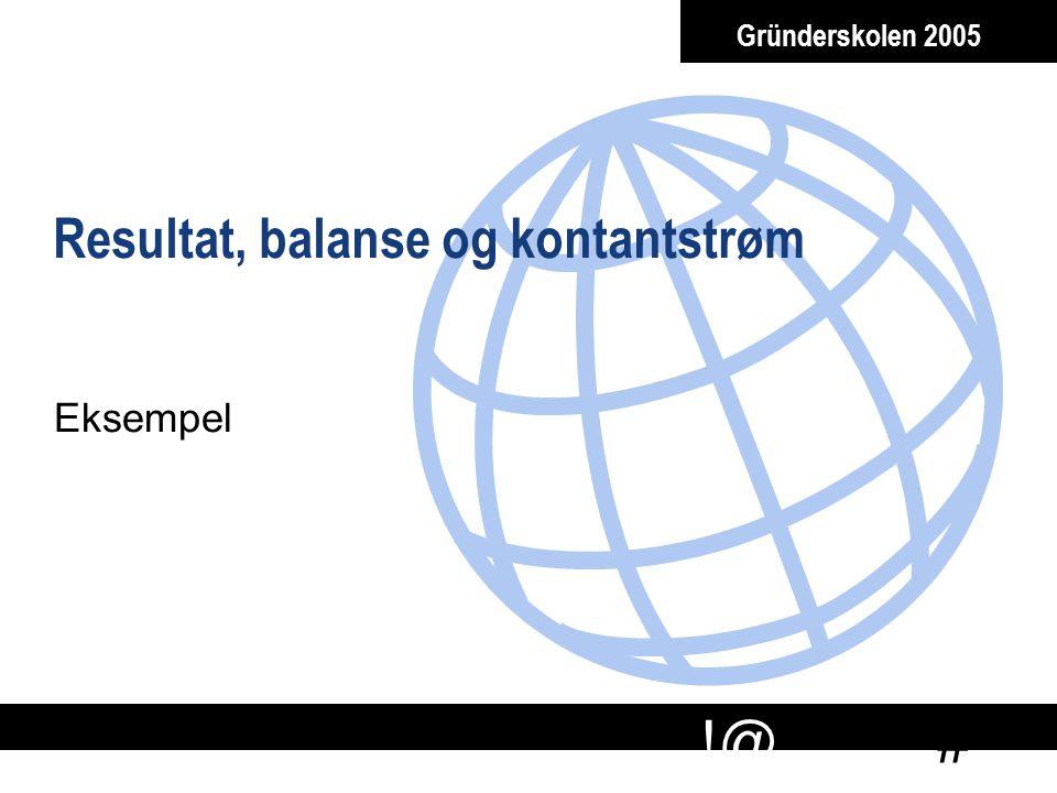 # !@ Gründerskolen 2005 Resultat, balanse og kontantstrøm Eksempel