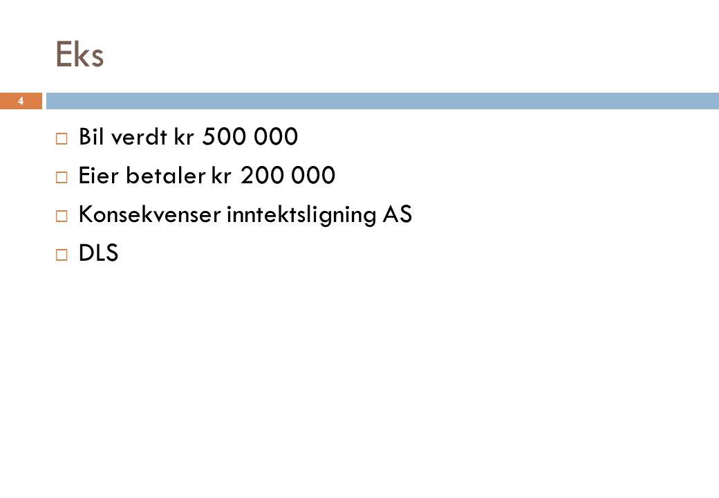Uttak § 5-2, jf § 10-41, vs utdeling § 10- 42  § 5-2 oppgjørsbeskatning for urealiserte merverdier  Bil omsetningsverdi 500  D saldo 200  Gis bort til deltager med 10 %  Inn i inntektsoppgjør til fordeling: 300 (500-200) (30)  Utdeling 500 (500) 5