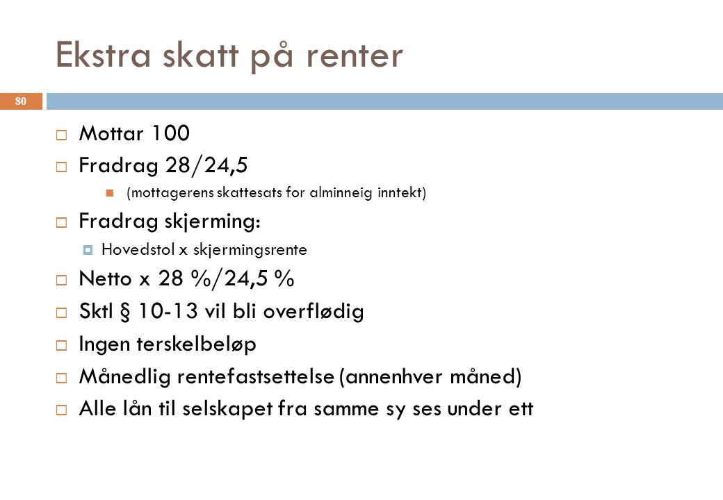 Ekstra skatt på renter  Mottar 100  Fradrag 28/24,5 (mottagerens skattesats for alminneig inntekt)  Fradrag skjerming:  Hovedstol x skjermingsrent