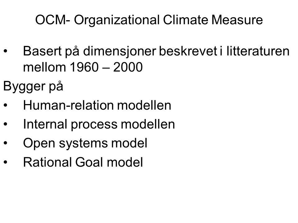 OCM- Organizational Climate Measure Basert på dimensjoner beskrevet i litteraturen mellom 1960 – 2000 Bygger på Human-relation modellen Internal proce