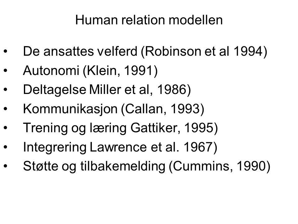 Human relation modellen De ansattes velferd (Robinson et al 1994) Autonomi (Klein, 1991) Deltagelse Miller et al, 1986) Kommunikasjon (Callan, 1993) T
