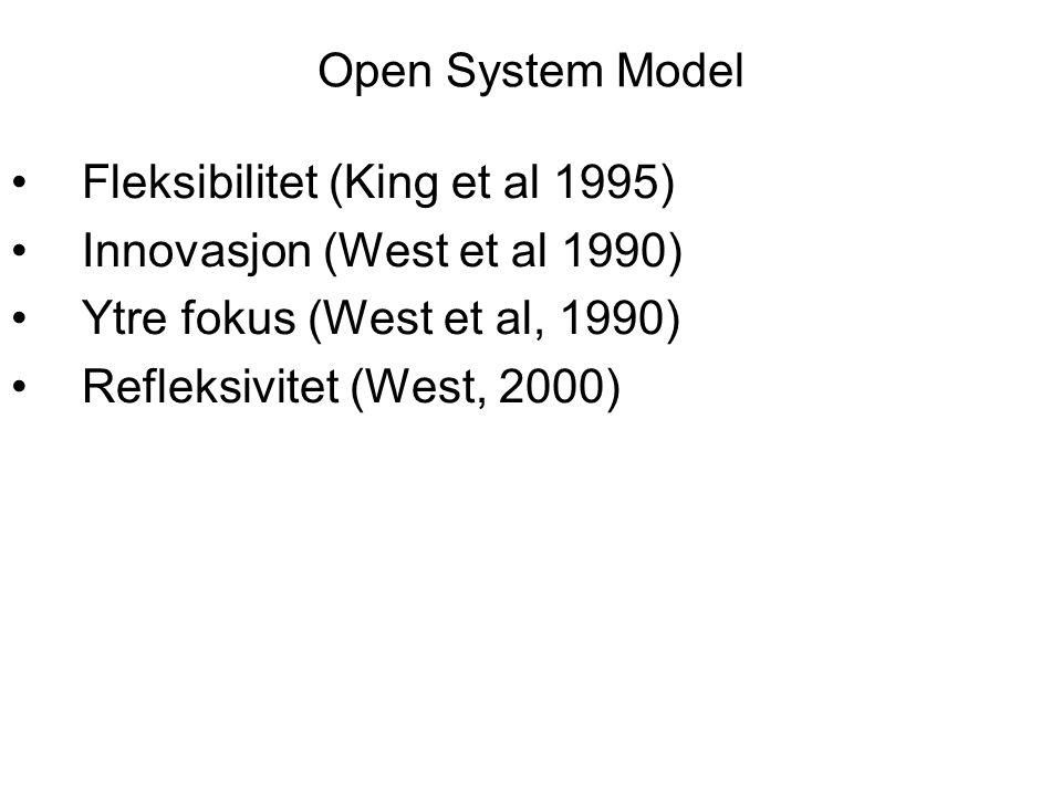 Open System Model Fleksibilitet (King et al 1995) Innovasjon (West et al 1990) Ytre fokus (West et al, 1990) Refleksivitet (West, 2000)