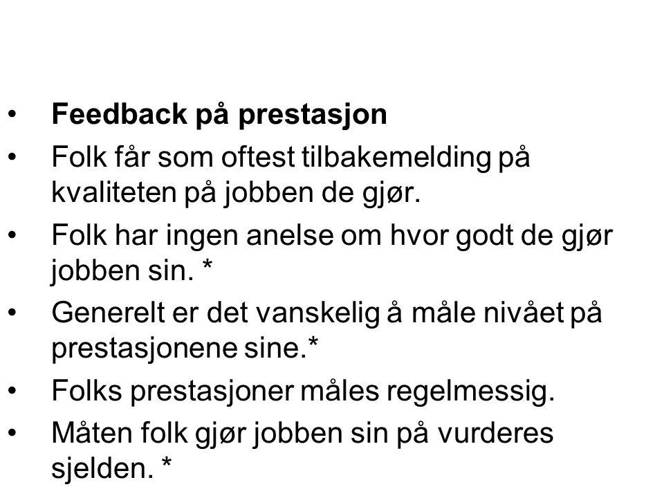 Feedback på prestasjon Folk får som oftest tilbakemelding på kvaliteten på jobben de gjør. Folk har ingen anelse om hvor godt de gjør jobben sin. * Ge