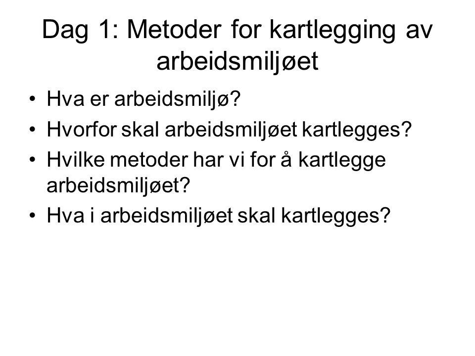 Dag 1: Metoder for kartlegging av arbeidsmiljøet Hva er arbeidsmiljø? Hvorfor skal arbeidsmiljøet kartlegges? Hvilke metoder har vi for å kartlegge ar