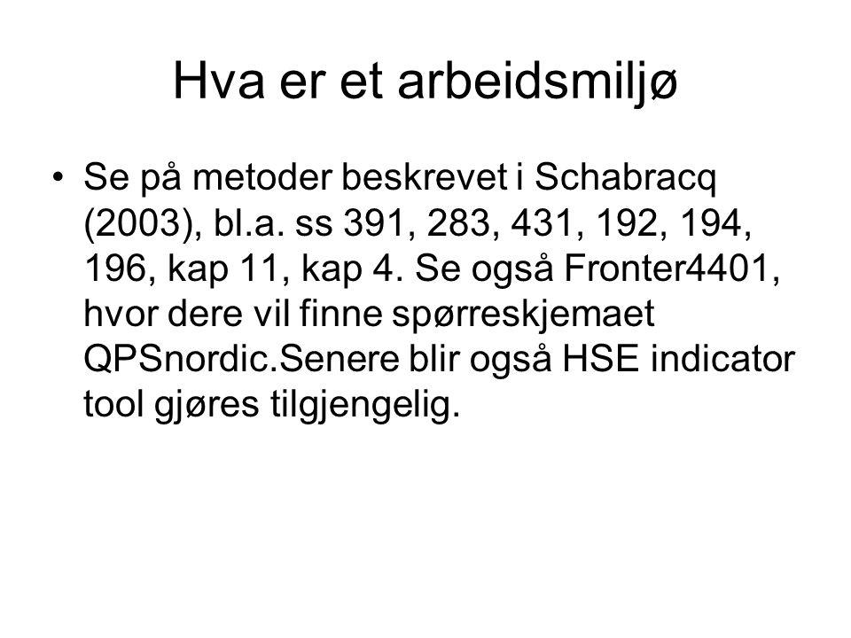Hva er et arbeidsmiljø Se på metoder beskrevet i Schabracq (2003), bl.a. ss 391, 283, 431, 192, 194, 196, kap 11, kap 4. Se også Fronter4401, hvor der