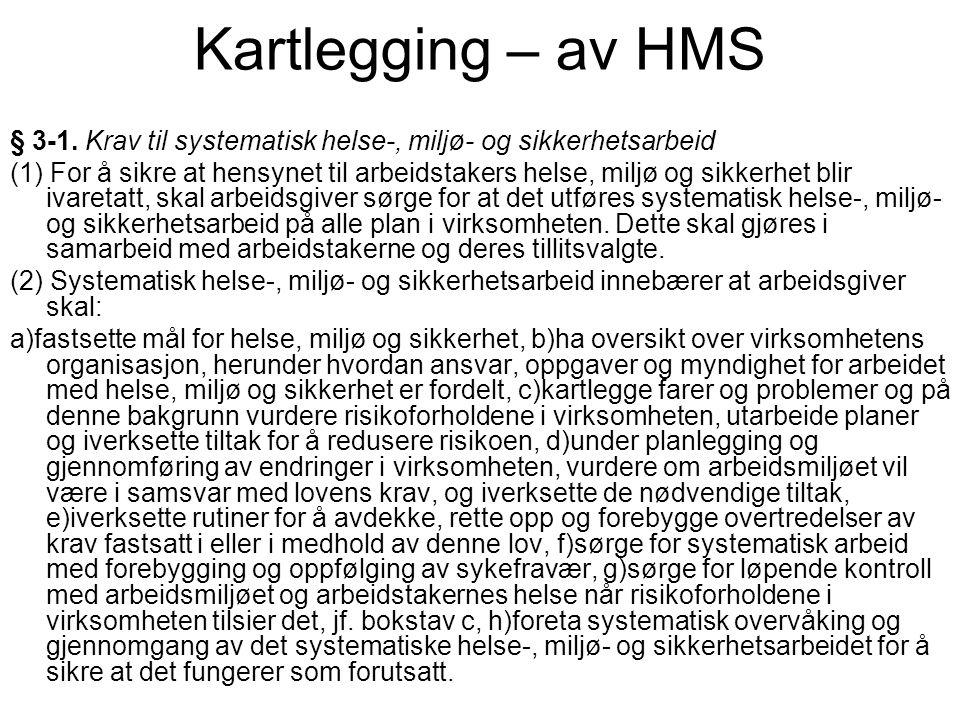 Kartlegging – av HMS § 3-1. Krav til systematisk helse-, miljø- og sikkerhetsarbeid (1) For å sikre at hensynet til arbeidstakers helse, miljø og sikk