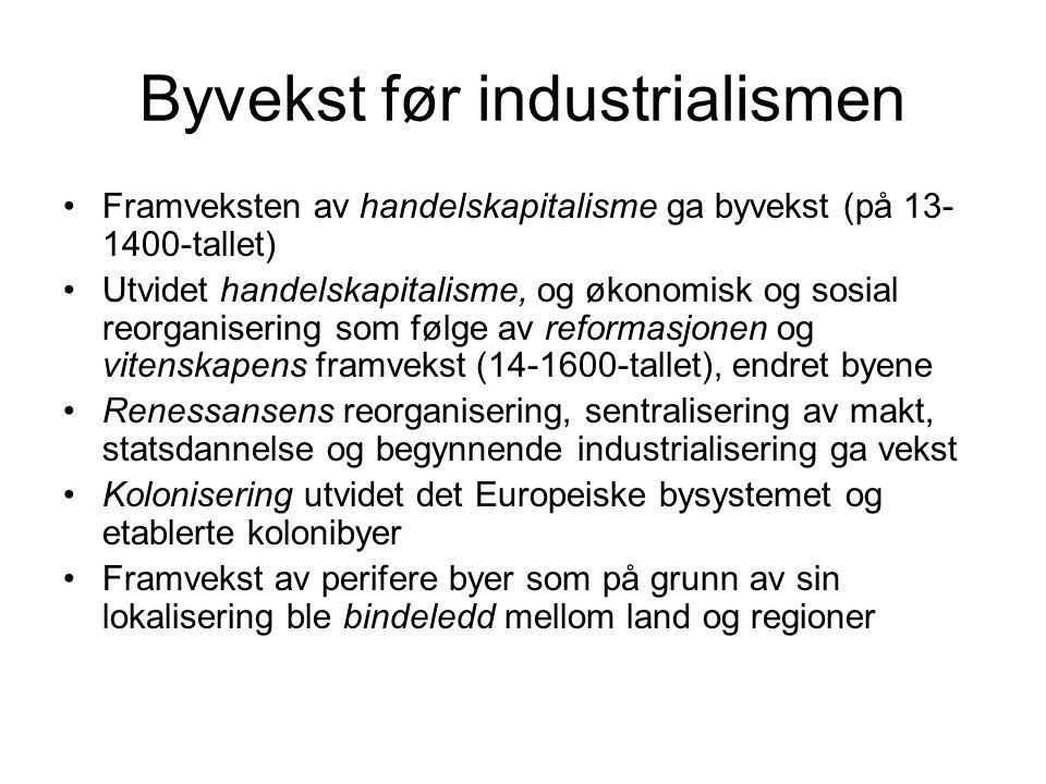 Byenes betydning for industrialiseringen Store mengder arbeidskraft Transportnettverk Den fysiske infrastrukturen av fabrikker, lagerbygninger, butikker og kontorer Forbrukermarkeder