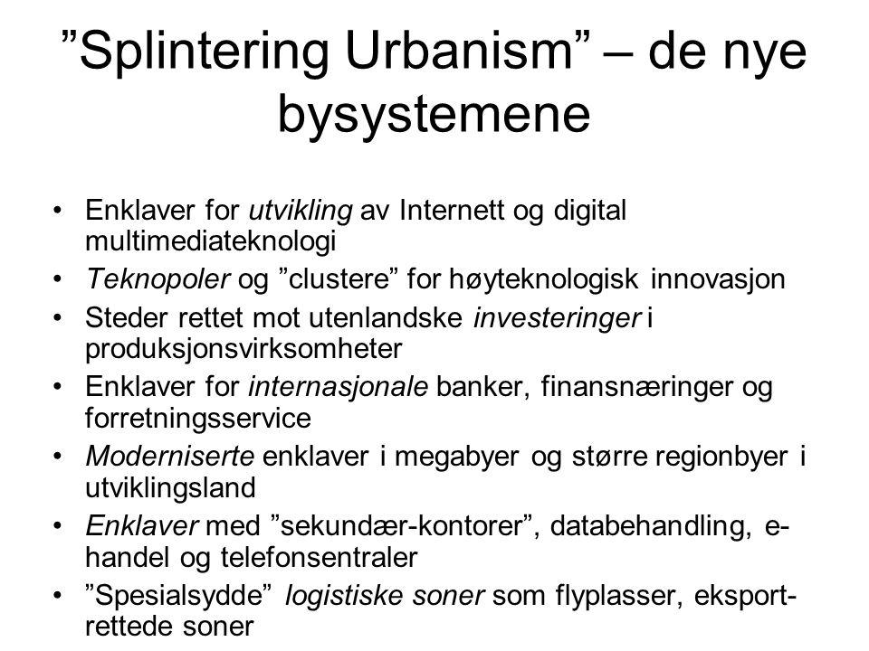 """""""Splintering Urbanism"""" – de nye bysystemene Enklaver for utvikling av Internett og digital multimediateknologi Teknopoler og """"clustere"""" for høyteknolo"""