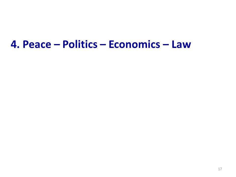 17 4. Peace – Politics – Economics – Law
