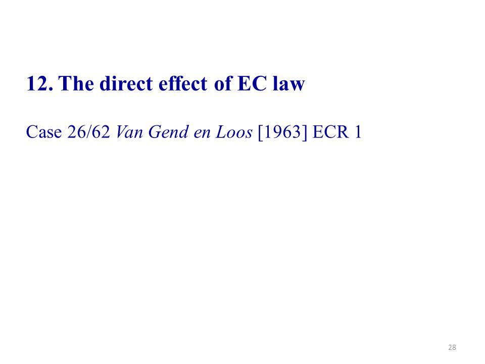 28 12. The direct effect of EC law Case 26/62 Van Gend en Loos [1963] ECR 1
