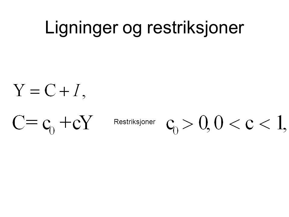 Ligninger og restriksjoner Restriksjoner