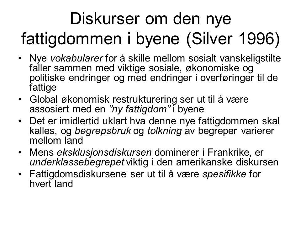 Diskurser om den nye fattigdommen i byene (Silver 1996) Nye vokabularer for å skille mellom sosialt vanskeligstilte faller sammen med viktige sosiale,