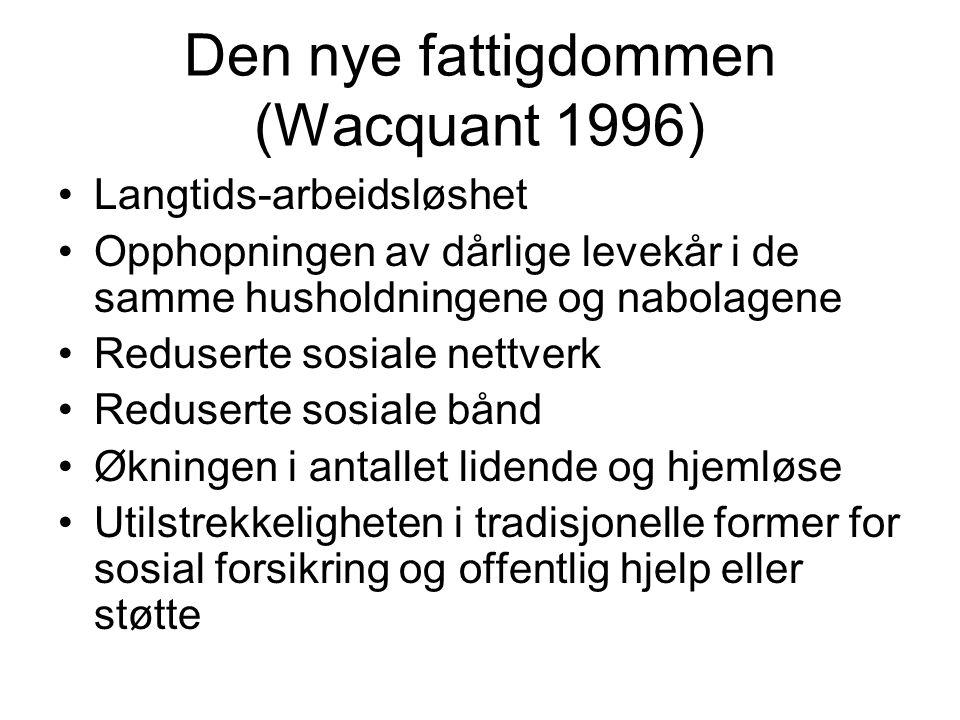 Den nye fattigdommen (Wacquant 1996) Langtids-arbeidsløshet Opphopningen av dårlige levekår i de samme husholdningene og nabolagene Reduserte sosiale