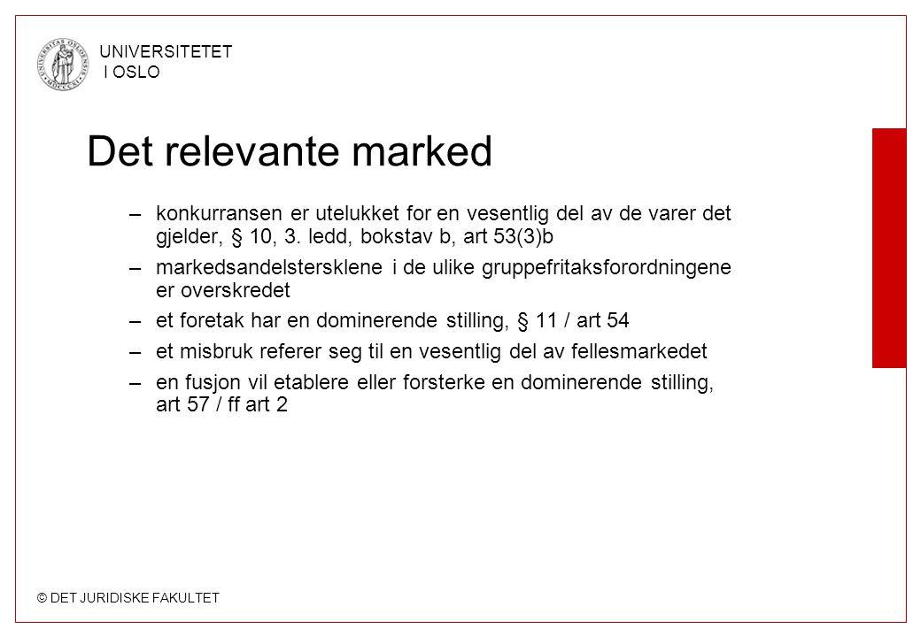 © DET JURIDISKE FAKULTET UNIVERSITETET I OSLO Det relevante marked –konkurransen er utelukket for en vesentlig del av de varer det gjelder, § 10, 3. l