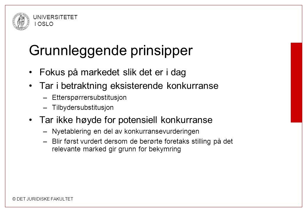 © DET JURIDISKE FAKULTET UNIVERSITETET I OSLO Grunnleggende prinsipper Fokus på markedet slik det er i dag Tar i betraktning eksisterende konkurranse