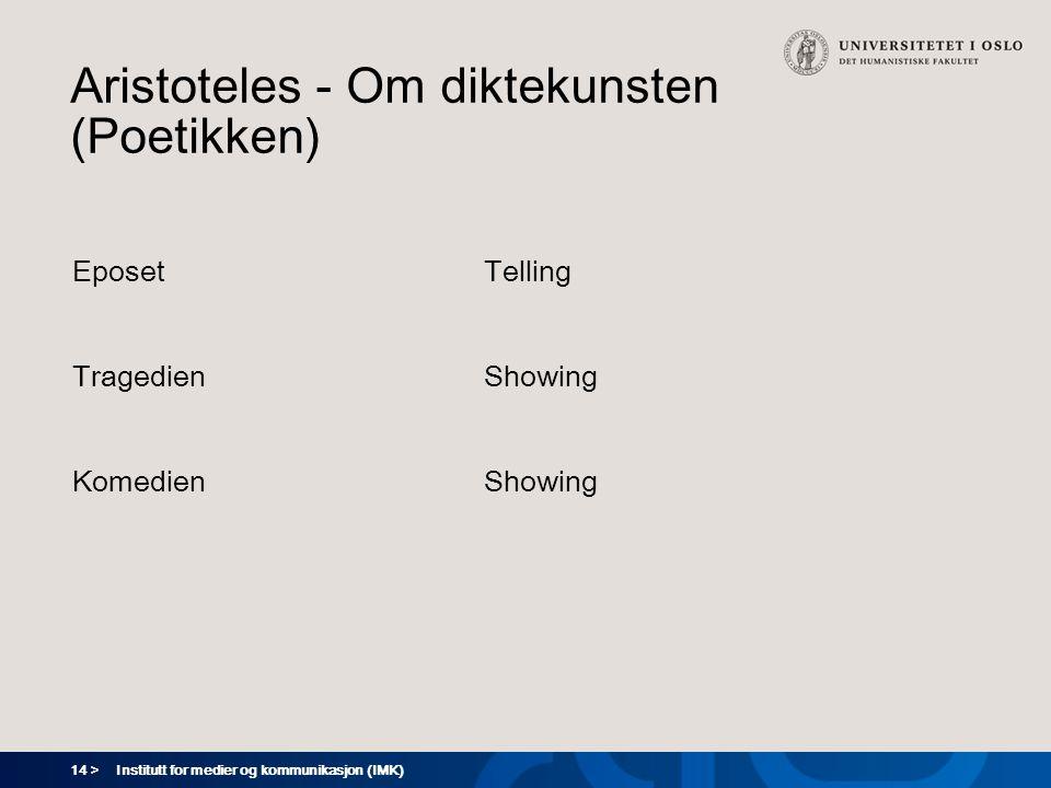 14 > Institutt for medier og kommunikasjon (IMK) Aristoteles - Om diktekunsten (Poetikken) Eposet Tragedien Komedien Telling Showing