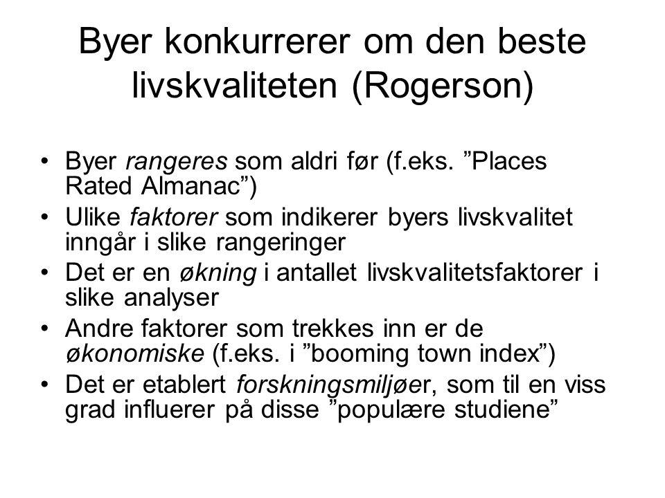 Byer konkurrerer om den beste livskvaliteten (Rogerson) Byer rangeres som aldri før (f.eks.