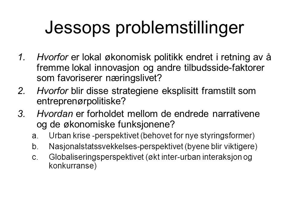 Jessops problemstillinger 1.Hvorfor er lokal økonomisk politikk endret i retning av å fremme lokal innovasjon og andre tilbudsside-faktorer som favori