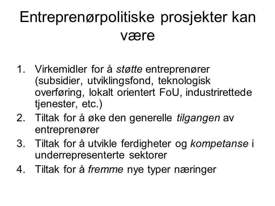 Entreprenørpolitiske prosjekter kan være 1.Virkemidler for å støtte entreprenører (subsidier, utviklingsfond, teknologisk overføring, lokalt orientert FoU, industrirettede tjenester, etc.) 2.Tiltak for å øke den generelle tilgangen av entreprenører 3.Tiltak for å utvikle ferdigheter og kompetanse i underrepresenterte sektorer 4.Tiltak for å fremme nye typer næringer