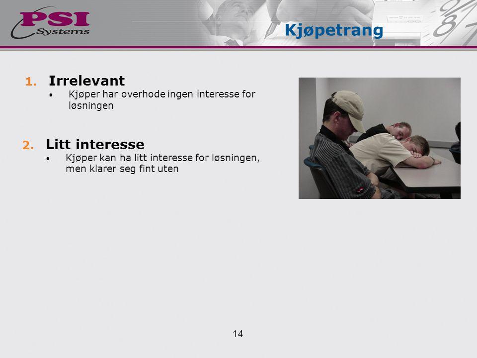 1.Irrelevant Kjøper har overhode ingen interesse for løsningen Kjøpetrang 2.