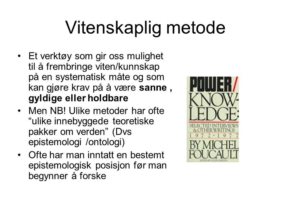 Metodevalg Mange velger metode av feil grunn (Silverman 2001) Avhengig av hva som skal underøkes Epistemologisk ståsted Hensikt med forskningen Etiske vurderinger Tilgang på data Praktiske hensyn