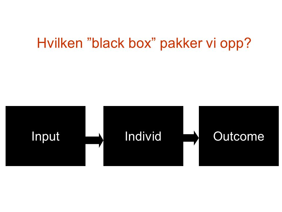 "Hvilken ""black box"" pakker vi opp? InputIndividOutcome"