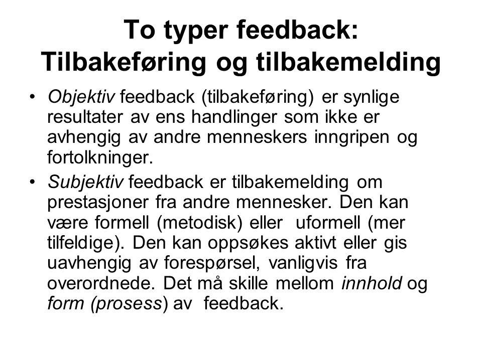 To typer feedback: Tilbakeføring og tilbakemelding Objektiv feedback (tilbakeføring) er synlige resultater av ens handlinger som ikke er avhengig av a