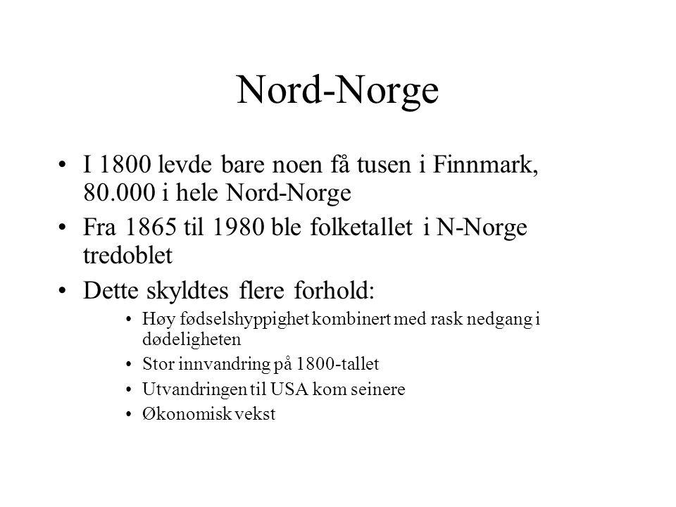 Nord-Norge I 1800 levde bare noen få tusen i Finnmark, 80.000 i hele Nord-Norge Fra 1865 til 1980 ble folketallet i N-Norge tredoblet Dette skyldtes flere forhold: Høy fødselshyppighet kombinert med rask nedgang i dødeligheten Stor innvandring på 1800-tallet Utvandringen til USA kom seinere Økonomisk vekst