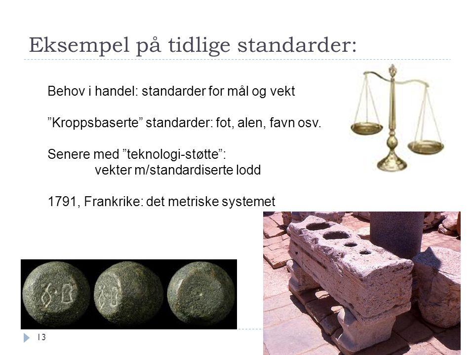 """Eksempel på tidlige standarder: 13 Behov i handel: standarder for mål og vekt """"Kroppsbaserte"""" standarder: fot, alen, favn osv. Senere med """"teknologi-s"""