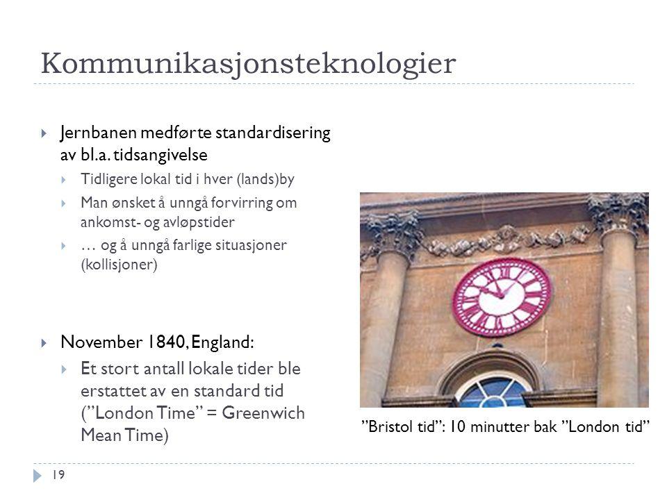 Kommunikasjonsteknologier  Jernbanen medførte standardisering av bl.a. tidsangivelse  Tidligere lokal tid i hver (lands)by  Man ønsket å unngå forv