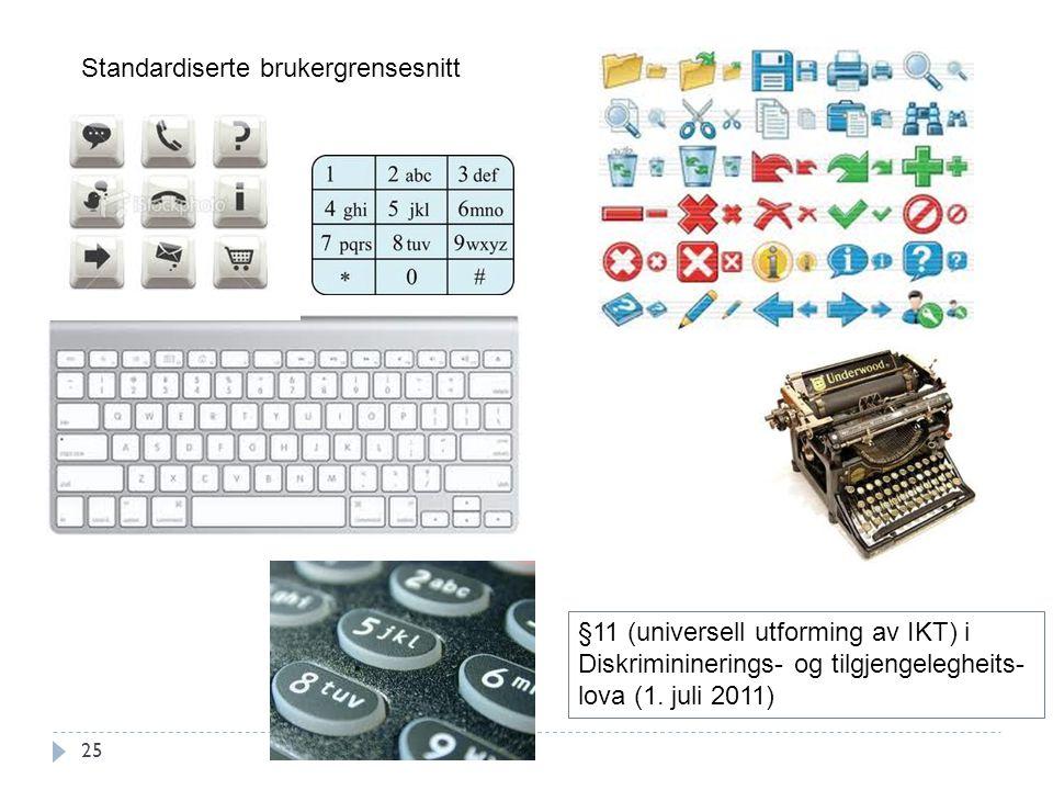 25 Standardiserte brukergrensesnitt §11 (universell utforming av IKT) i Diskrimininerings- og tilgjengelegheits- lova (1. juli 2011)