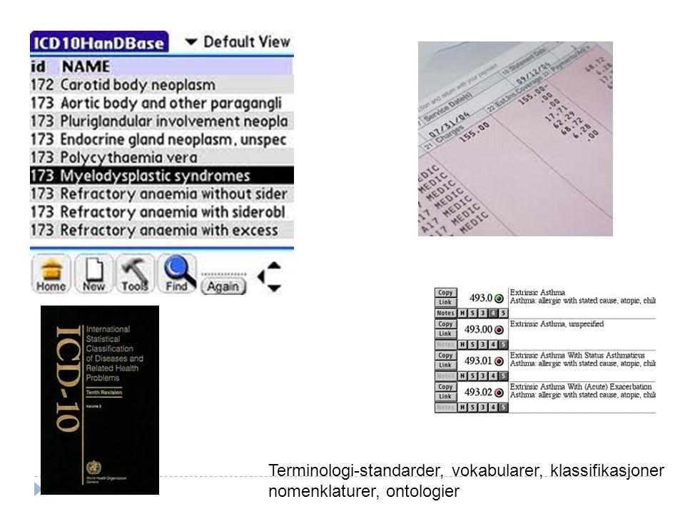 26 Terminologi-standarder, vokabularer, klassifikasjoner nomenklaturer, ontologier