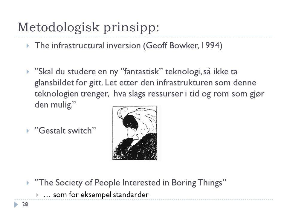 """Metodologisk prinsipp:  The infrastructural inversion (Geoff Bowker, 1994)  """"Skal du studere en ny """"fantastisk"""" teknologi, så ikke ta glansbildet fo"""