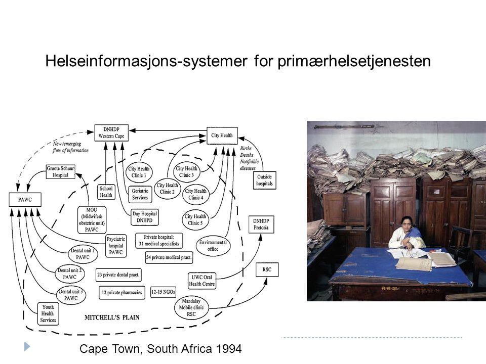 Cape Town, South Africa 1994 Helseinformasjons-systemer for primærhelsetjenesten
