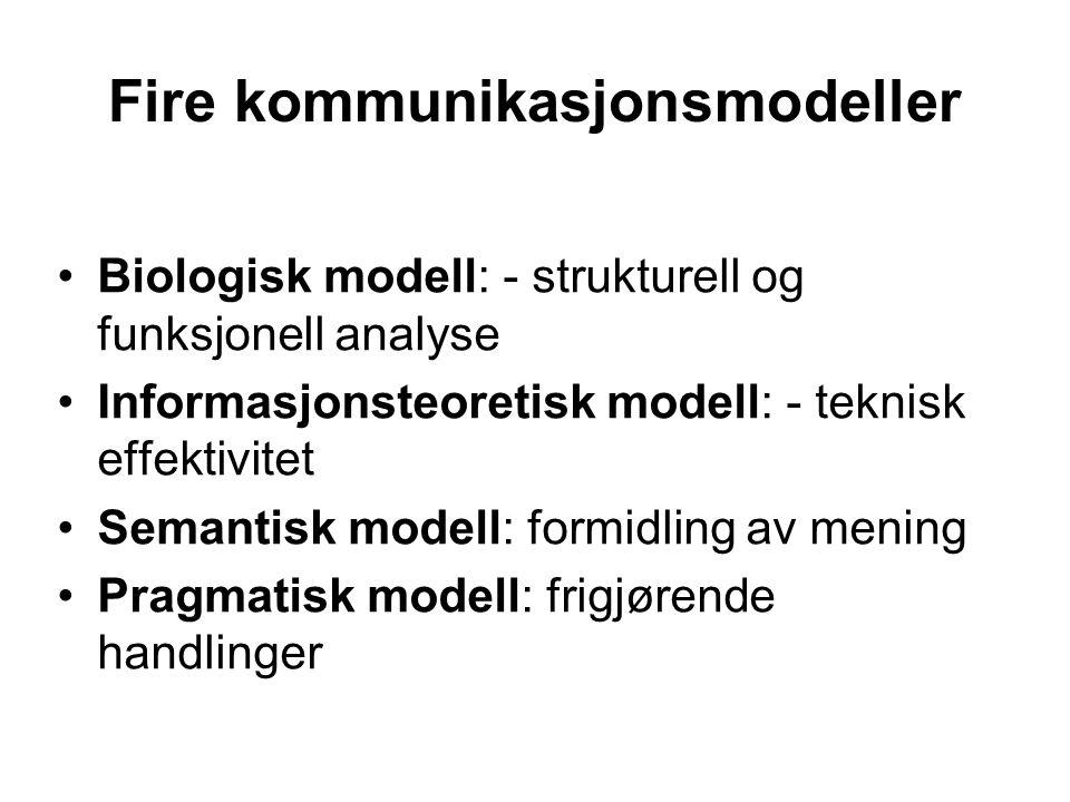 Fire kommunikasjonsmodeller Biologisk modell: - strukturell og funksjonell analyse Informasjonsteoretisk modell: - teknisk effektivitet Semantisk modell: formidling av mening Pragmatisk modell: frigjørende handlinger