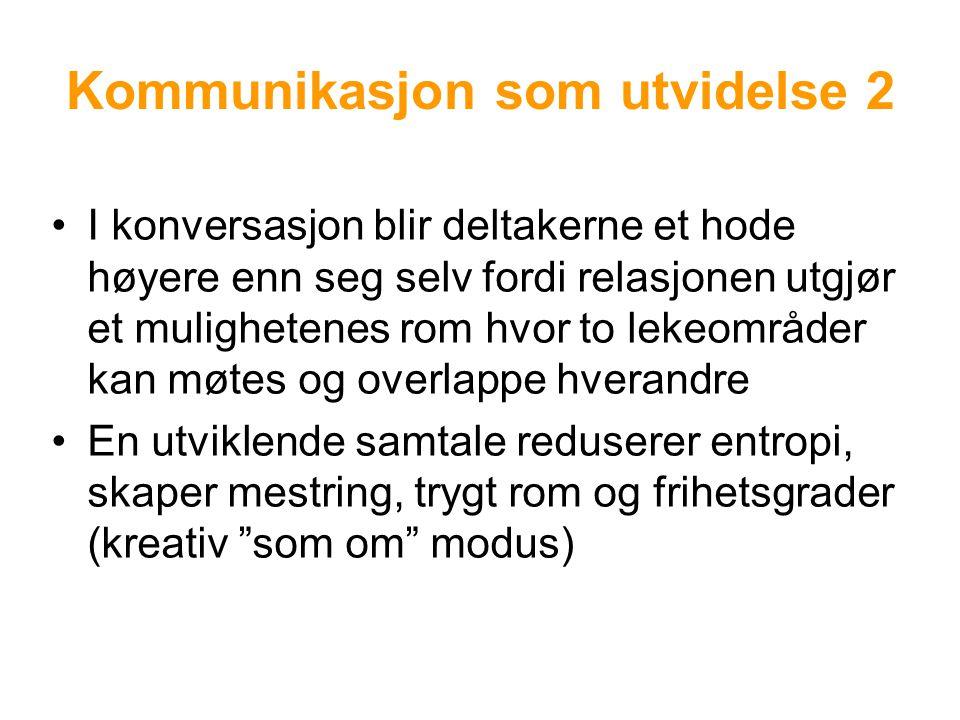 Kommunikasjon som utvidelse 2 I konversasjon blir deltakerne et hode høyere enn seg selv fordi relasjonen utgjør et mulighetenes rom hvor to lekeområder kan møtes og overlappe hverandre En utviklende samtale reduserer entropi, skaper mestring, trygt rom og frihetsgrader (kreativ som om modus)
