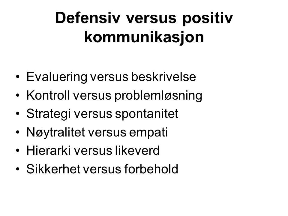 Defensiv versus positiv kommunikasjon Evaluering versus beskrivelse Kontroll versus problemløsning Strategi versus spontanitet Nøytralitet versus empati Hierarki versus likeverd Sikkerhet versus forbehold