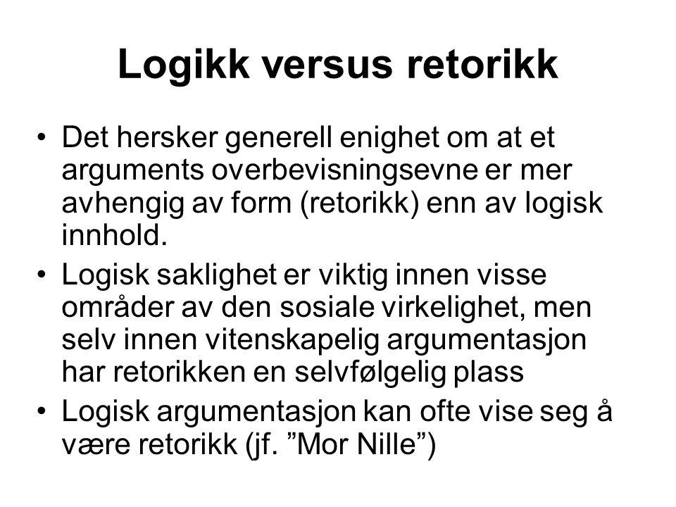 Logikk versus retorikk Det hersker generell enighet om at et arguments overbevisningsevne er mer avhengig av form (retorikk) enn av logisk innhold.