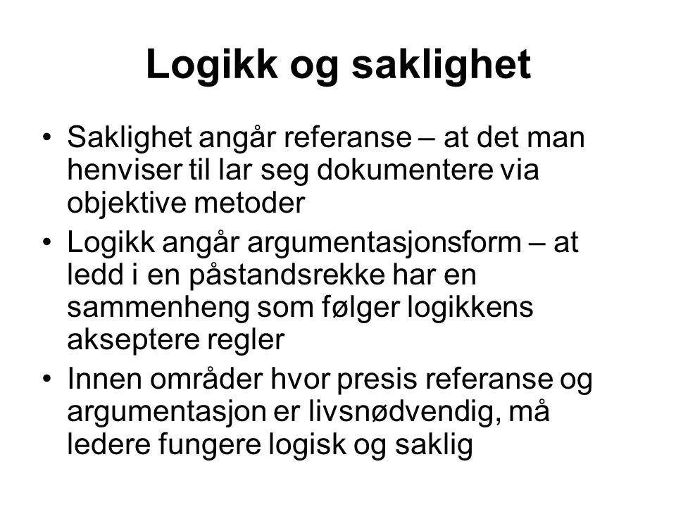 Logikk og saklighet Saklighet angår referanse – at det man henviser til lar seg dokumentere via objektive metoder Logikk angår argumentasjonsform – at ledd i en påstandsrekke har en sammenheng som følger logikkens akseptere regler Innen områder hvor presis referanse og argumentasjon er livsnødvendig, må ledere fungere logisk og saklig