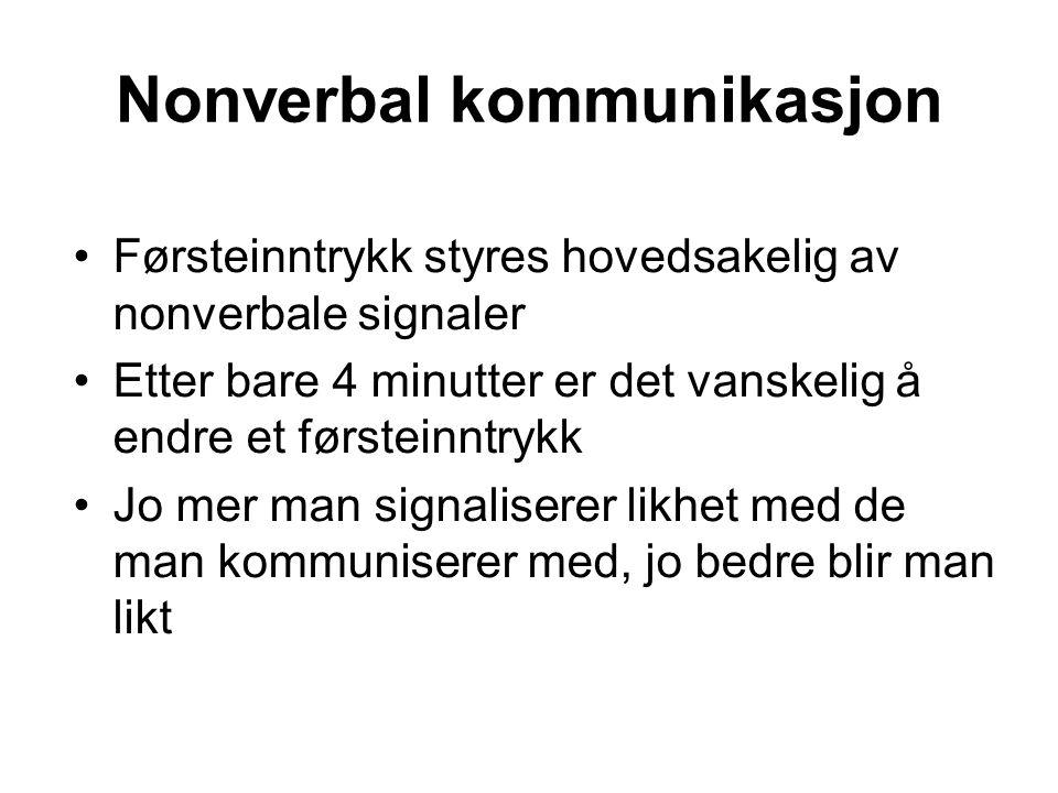 Nonverbal kommunikasjon Førsteinntrykk styres hovedsakelig av nonverbale signaler Etter bare 4 minutter er det vanskelig å endre et førsteinntrykk Jo mer man signaliserer likhet med de man kommuniserer med, jo bedre blir man likt