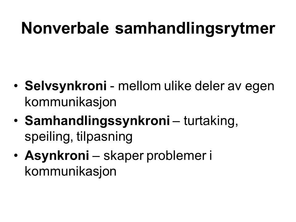 Nonverbale samhandlingsrytmer Selvsynkroni - mellom ulike deler av egen kommunikasjon Samhandlingssynkroni – turtaking, speiling, tilpasning Asynkroni – skaper problemer i kommunikasjon