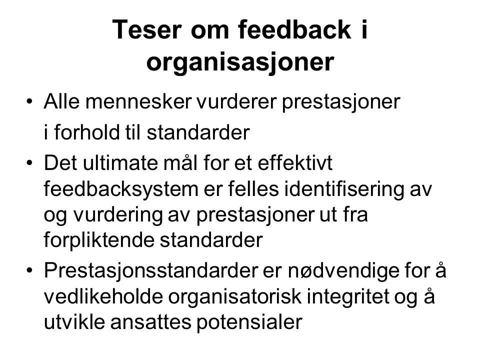 Teser om feedback i organisasjoner Alle mennesker vurderer prestasjoner i forhold til standarder Det ultimate mål for et effektivt feedbacksystem er felles identifisering av og vurdering av prestasjoner ut fra forpliktende standarder Prestasjonsstandarder er nødvendige for å vedlikeholde organisatorisk integritet og å utvikle ansattes potensialer