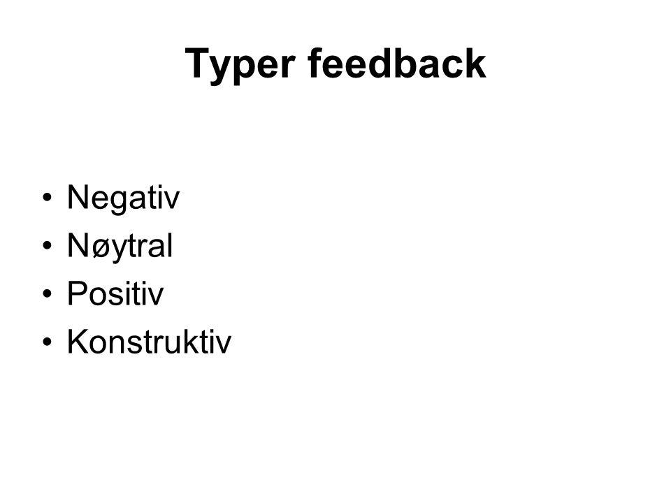Typer feedback Negativ Nøytral Positiv Konstruktiv