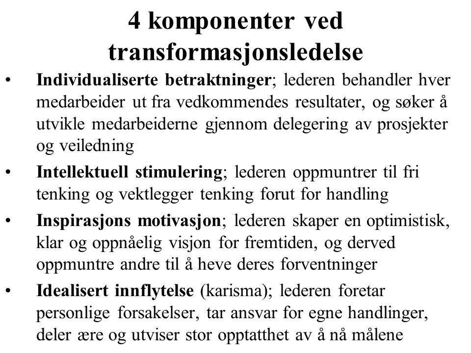 4 komponenter ved transformasjonsledelse Individualiserte betraktninger; lederen behandler hver medarbeider ut fra vedkommendes resultater, og søker å
